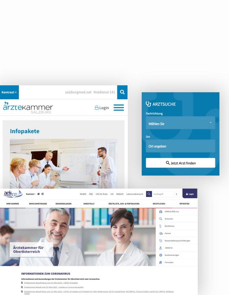 TYPO3 und Webdesign für die Portale der Ärztekammer OÖ und Salzburg