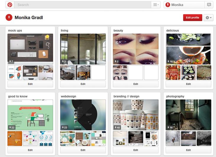 Pinterest Boards zu Themen wie Beauty, Food und Living