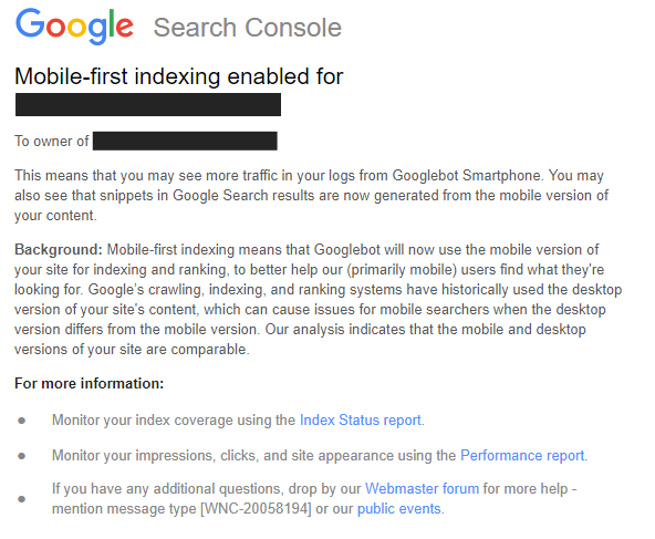 Mobile-First-Index - Nachricht in der Google Search Console