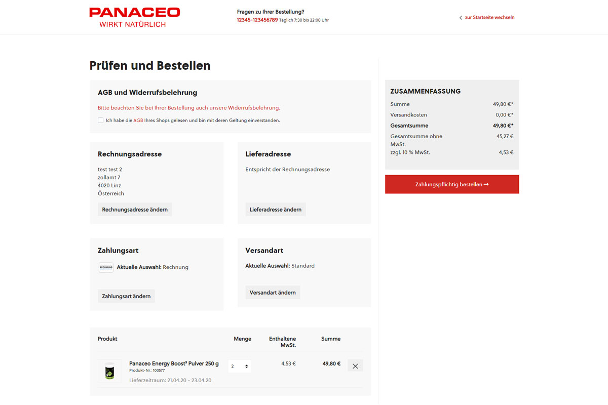 Onlineshop für Panaceo